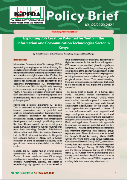 PB- Exploiting Job Creation Potential for Youth in the Information and Communication Technologies Sector in Kenya-PB09-2020-2021