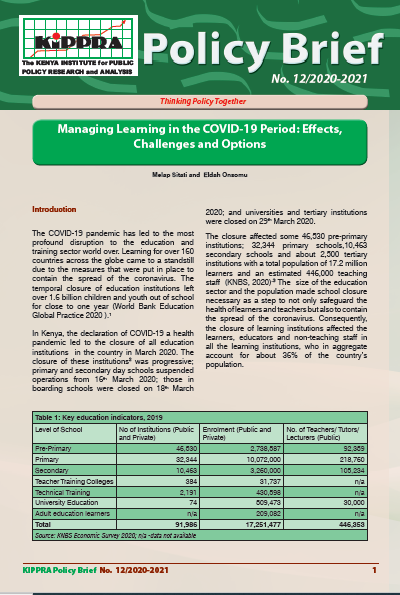 PB-Managing Learning in the COVID-19 Period; Effects, Challenges and Options PB12-2020-2021